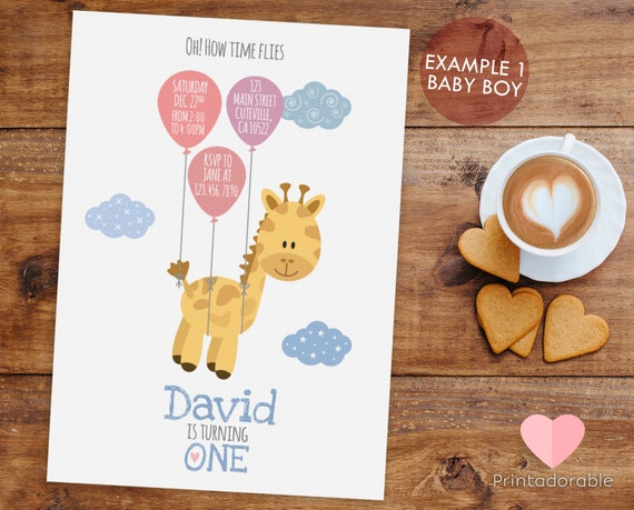 Cute and Simple Giraffe Invitation with Balloons for Birthday or Baby Shower