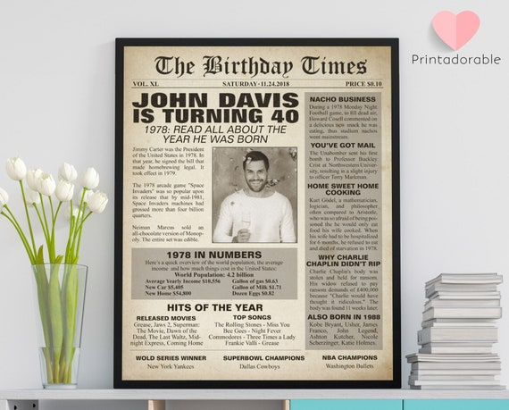 1978 Sign, 40 years sign, 40th birthday sign, The World in 1978, 1978 Poster, 1978 Newspaper, 1978 Cover, The Birthday Times, Born in 1978
