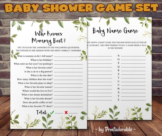 Baby Shower Game, Who Knows Mommy Best, Baby Name Game, Greenery Baby Shower, Greenery Shower, Name the Baby, Greenery Baby Game