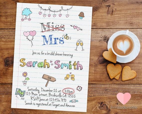 Miss Mrs Bridal Shower Invitation • Love Doodles and scribbles Bridal Shower Invite