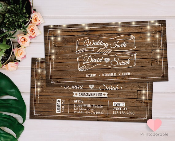 Rustic Wedding Invitation  •  Wooden Wedding Invite  •  Country Chic Marriage Ticket  •  Wood Rustic Ticket