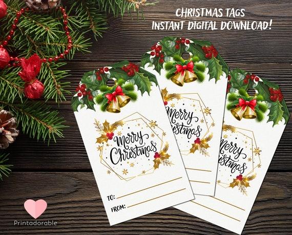 Christmas Gift Tags, Christmas Tags, Xmas Tags, Simple Christmas Tags, Cute Xmas Tags, Digital tags, Instant Download Tags