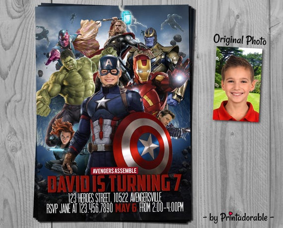 Captain America Invitation - Avengers Invite - Captain America - Infinity Wars Party - Marvel Invite - Printadorable