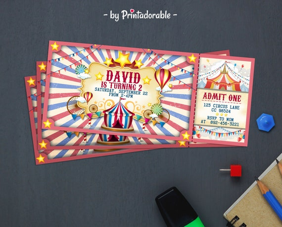 Circus Invite Tickets - Carnival invitation Ticket - Vintage Circus Invite - red & blue circus tent - Come one come all - Circus Party theme