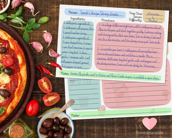 Doodle Cooking Recipe Cards  •  Scribble Cooking Recipe Cards  •  Colorful Hand Drawn Kitchen Cooking Cards  •  Set of 2 Recipe Cards 4x6