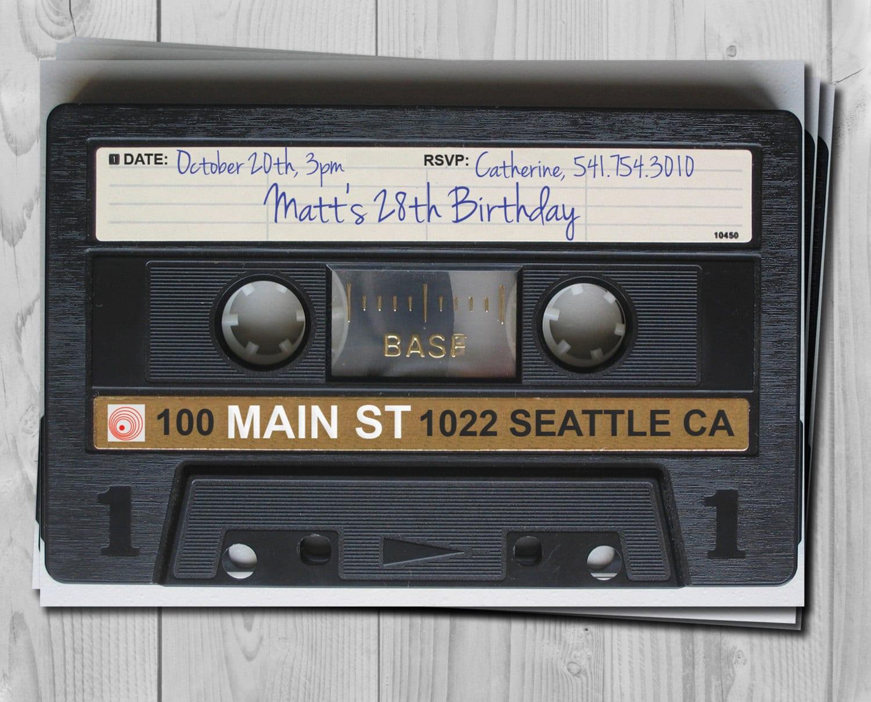 80s Invite 90s Invitation Tape Invite Cassette Invitation Retro Invite