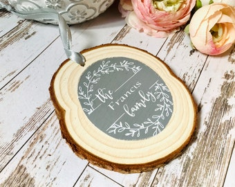 Personalised family log slice sign, family name gift, wood anniversary, housewarming gift sign, new baby gift, personalised home decor