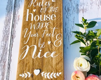 House rules pallet sign, reclaimed wood sign, housewarming gift, porch sign, new home, rustic home decor, farmhouse sign