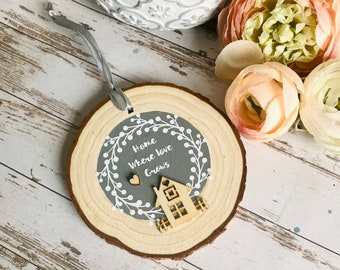 Home where love grows housewarming gifts sign, home sweet home gift, new home gift, grey home decor, rustic home decor