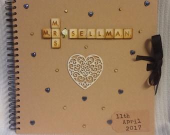 Personalised Wedding scrapbook , wedding album , rustic wedding album, wedding guest book, anniversary gift, custom album, wedding gift,