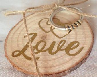 Ring bearer pillow, Rustic ring cushion, bark slice ring holder, wood wedding ring holder, rustic wedding ring holder, rustic wedding