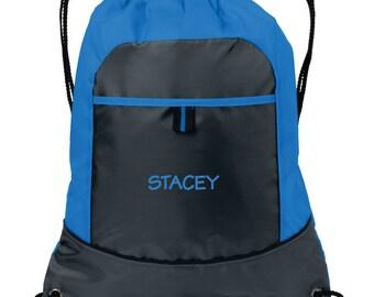 Personalized Cinch Bag, Embroidered Drawstring Bag, Monogrammed Book Bag, Custom Bag for Her, Personalized Sports Bag, Gift for Her. BG611