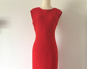 Vintage Red Sleeveless Floor Length Dress