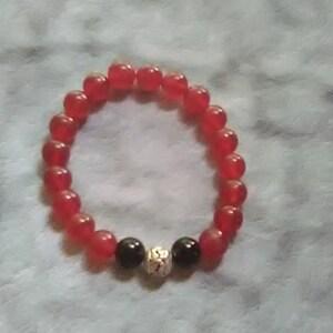 RedGold and Black Beaded Men/'sUnisex Beaded Bracelet