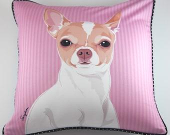 Chihuahua (White/Brown) Pillow