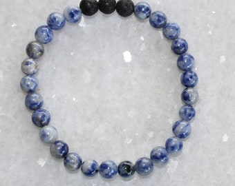 Blue Spot Jasper Diffuser Bracelet / Healing Crystals / Chakra Mala  /Spiritual Reiki / Essential Oils / Black Lava / Moonlit Crystals
