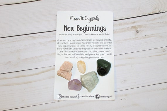 New Beginnings Crystal Set Amethyst Moonstone Green Etsy