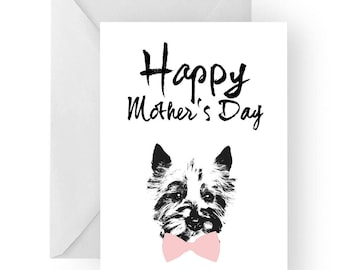 West Highland Terrier Mother's Day card- dog Mother's Day card, dog card, Mother's Day card, cute westie card, west terrier card