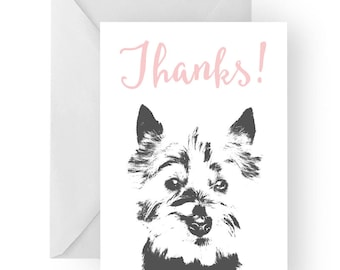 West Highland Terrier thank you card- Westie greeting card, Westie thank you card, West Highland Terrier gift, West Highland Terrier gift