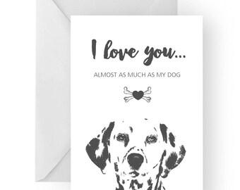 Dalmatian anniversary card- birthday card, love card, dog birthday card, Dalmatian anniversary, Dalmatian card, Dalmatian birthday card
