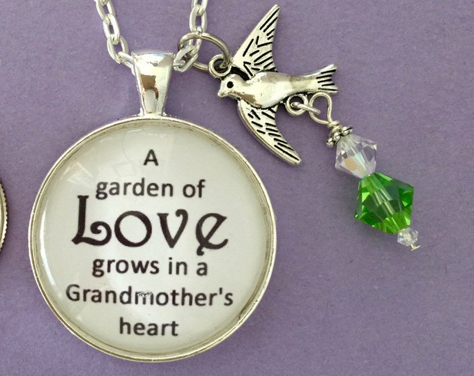 Grandmother Necklace, gift for Grandmother, pendant with silver bird and Swarovski crystals, silver chain, scripture 1 Corinthians 13:7-8