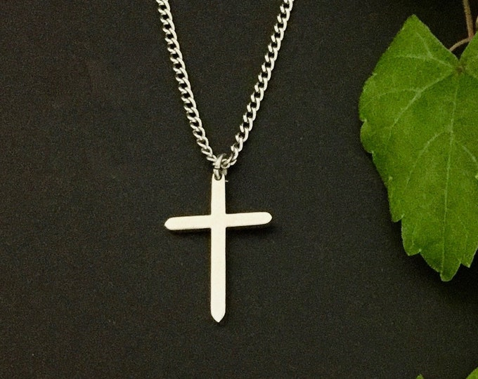 Silver cross necklace for women and girls, Tiny stainless steel cross necklace, minimalist stainless steel cross pendant for women and teens