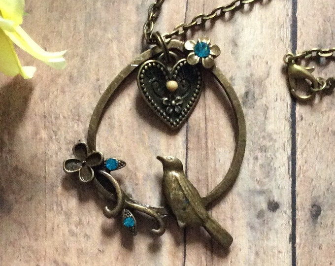Mustard Seed Necklace with bird and rhinestones, heart charm, Christian Gifts, antique bronze necklace, Matthew 17:20, nature necklace