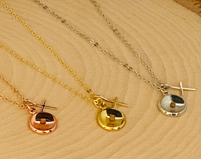 Faith of a mustard seed charm necklace in gold silver or rose gold with matching cross and chain, Christian gift for Women, Faith Necklace