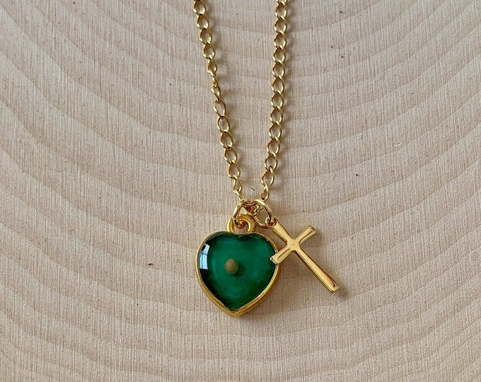 Gold mustard seed necklace for women and girls with emerald green heart and gold cross, Faith of a mustard seed necklace for her