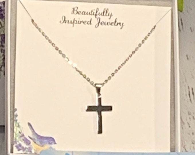 Silver cross necklace for women, stainless steel cross necklace for her, silver cross necklace for women and girls, Mothers Day Gift Cross