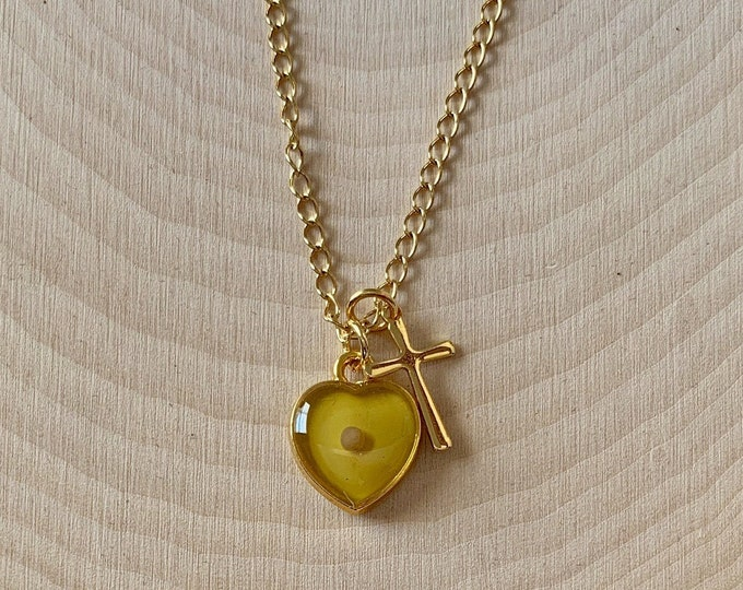 Gold faith of a mustard seed necklace with topaz heart and gold cross, Matthew 17 20 mustard seed gift necklace for her