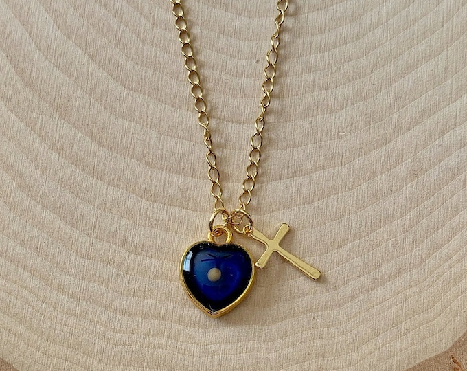 Gold mustard seed necklace for women and girls with blue center in heart with real mustard seed, Matthew 17 20 faith of a mustard seed