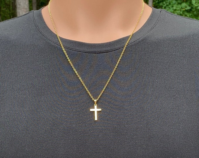 Gold stainless steel cross necklace for men and teen boys, Small non-tarnish gold stainless steel cross necklace for him
