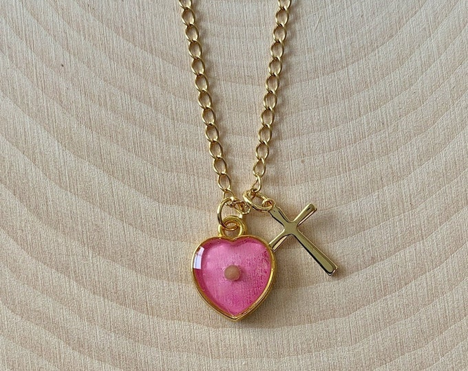 Gold mustard seed necklace for women and girls with pink heart and gold cross, Faith of a mustard seed necklace for her, Matthew 17 20