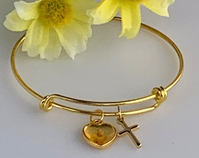 Gold bangle bracelet with heart charm and real mustard seed with cross, Faith of a mustard seed gold charm bracelet, Religious bracelet