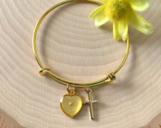 Christian faith of a mustard seed bangle bracelet for young girls with heart and cross charm, mustard seed sealed in water resistant resin