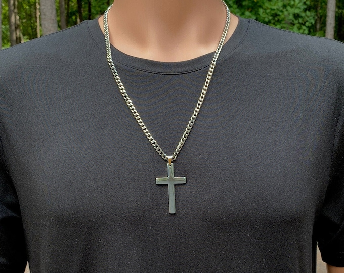 Large highly polished 316L stainless steel cross and curb chain for men, Stainless steel cross necklace for him