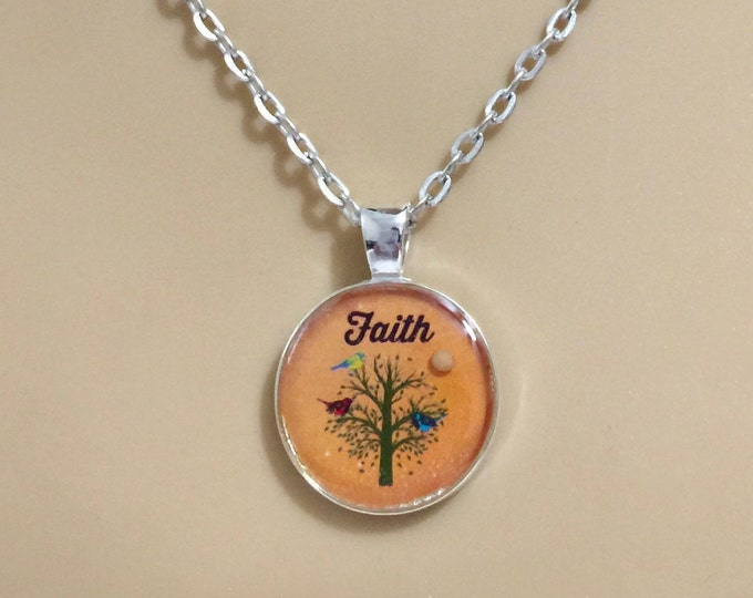 Mustard Seed Jewelry, Faith Jewelry, Mustard Seed Necklace, Christian Gifts, Orange and SilverTree of Life Necklace, Matthew 17:20