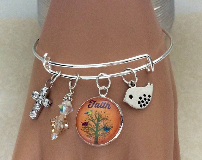 Christian bangle bracelet, Tree of Life bracelet, Swarovski Crystal Charm Bracelet, Christian Gifts, Silver charm bracelet, Matthew 17:20