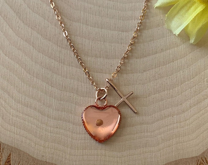 Mustard seed necklace in rose gold for women, Religious heart necklace for her, rose gold christian necklace for her
