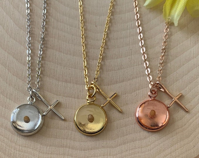 Faith of a mustard seed necklace, gold silver or rose gold mustard seed necklace, Christian gift for Women, Faith Necklace