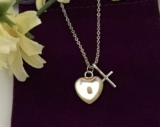 Silver cross necklace, silver heart necklace with mustard seed and cross, Gift for her, Christian Jewelry, Faith of a mustard seed necklace