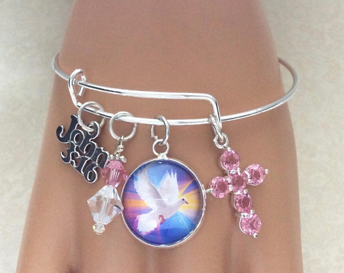 Christian bangle bracelet, John 3:16, Swarovski Crystal Bracelet, Dove charm, Swarovski dangle with pink crystal cross in silver plate