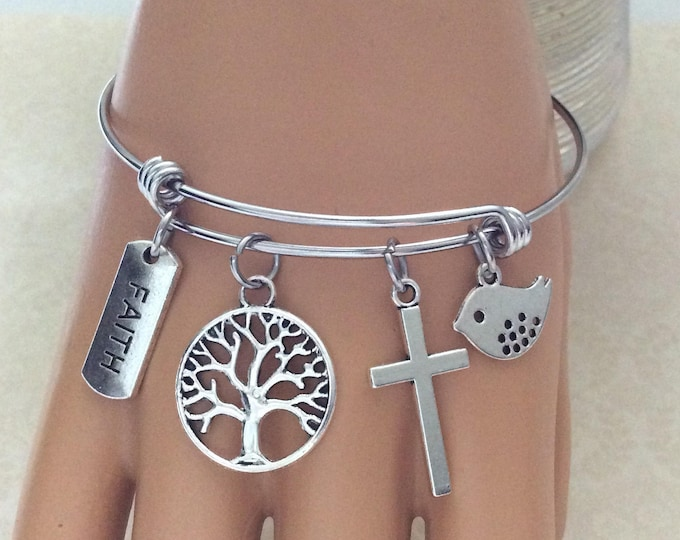 Christian charm bracelet with faith, cross, tree and bird charms, Christian Gifts, Matthew 17:20, Scripture, Christian Bangle Bracelet
