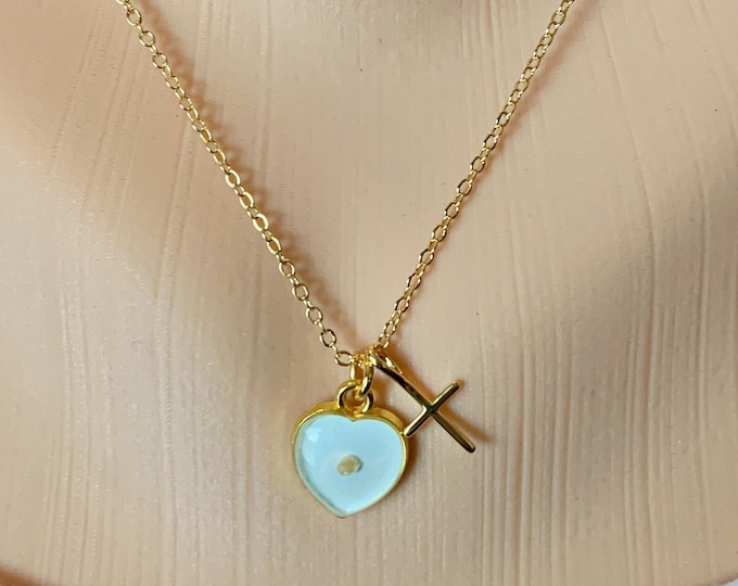 Faith of a mustard seed necklace in delicate gold and white heart charm with tiny gold cross, Matthew 17 20 mustard seed necklace for her