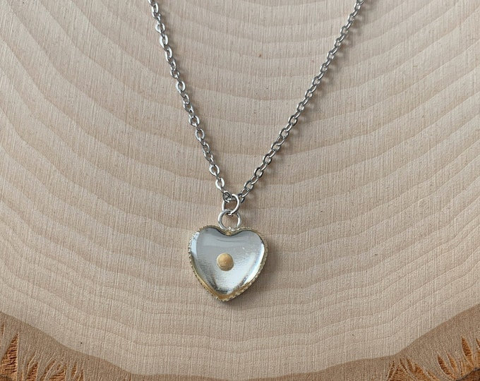 Silver faith of a mustard seed heart necklace, mustard seed necklace for women, silver heart mustard seed necklace, Matthew 17 20 jewelry