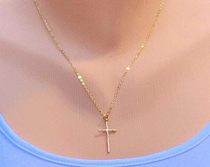 Gold cross necklace for women, hammered gold cross necklace for her, delicate hammered gold cross pendant gift for her