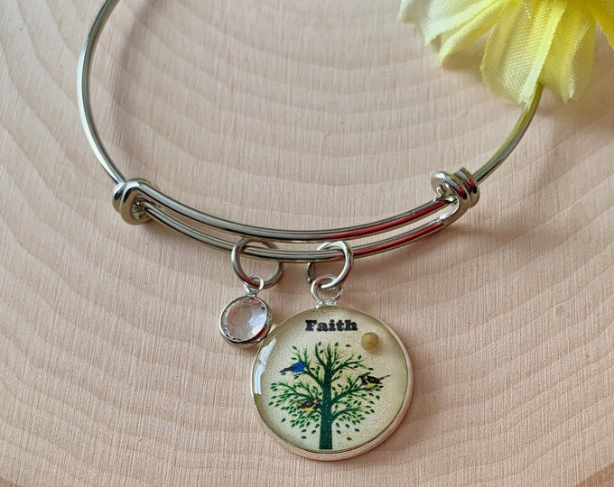 Faith of a mustard seed bracelet, Tree of Life bangle bracelet with Swarovski crystal, Christian charm bracelet for women, Gift for her