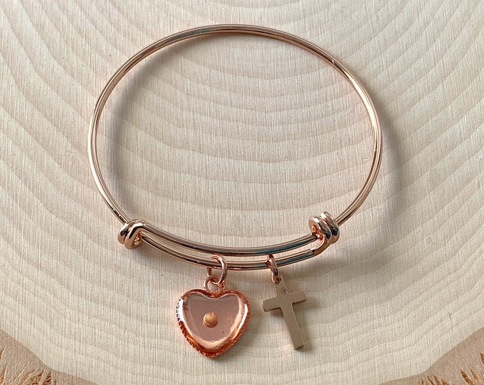 Rose gold mustard seed bangle bracelet for young girls, Real mustard seed heart and cross bracelet in rose gold for young girls