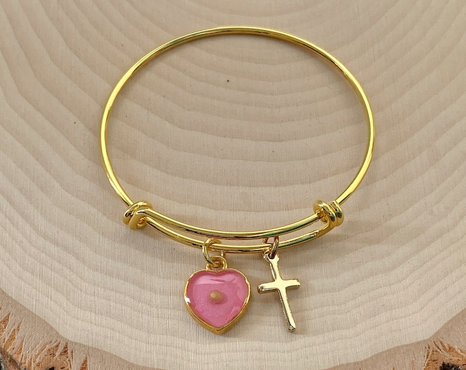 Gold faith of a mustard seed heart and cross bracelet for young girls with pink heart and real mustard seed and tiny gold cross charms